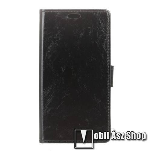 CRAZY notesz tok / flip tok - FEKETE - asztali tartó funkciós, oldalra nyíló, rejtett mágneses záródás, bankkártya tartó zsebekkel, szilikon belsős - ALCATEL OT-6055Y Idol 4
