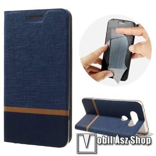 Notesz tok / flip tok - SÖTÉTKÉK - asztali tartó funkciós, oldalra nyíló, bankkártya tartó zsebekkel, szilikon belső - LG V20