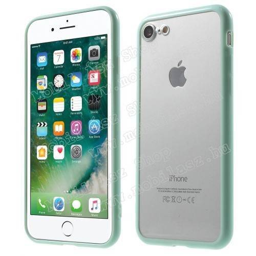Műanyag védő tok / áttetsző hátlap - CYAN KÉK - szilikon szegély - APPLE iPhone SE (2020) / APPLE iPhone 7 / APPLE iPhone 8