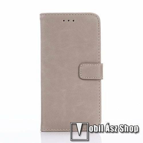Notesz / flip tok - oldalra nyíló, rejtett mágneses, álló, asztali tartó funkció, bankkártya tartó - SZÜRKE- HUAWEI Enjoy 6