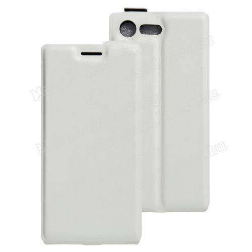 SLIM FLIP tok - FEHÉR - lefelé nyíló, rejtett mágneses záródás, szilikon belső, bankkártya tartó, előlapi hangszóró nyílás - Sony Xperia X Compact (F5321)