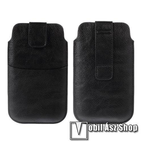 Buckle TAB! bőrtok - álló, tépőzár, övre fűzhető, külső zseb - 178 x 105 mm - FEKETE