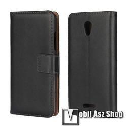 WALLET notesz tok / flip tok - FEKETE - valódi bőr, asztali tartó funkciós, oldalra nyíló, rejtett mágneses záródás, bankkártya tartó zsebekkel - Lenovo B