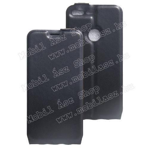 SLIM FLIP tok - FEKETE - lefelé nyíló, rejtett mágneses záródás, szilikon belső, bankkártya tartó, előlapi hangszóró nyílás - Google Pixel XL