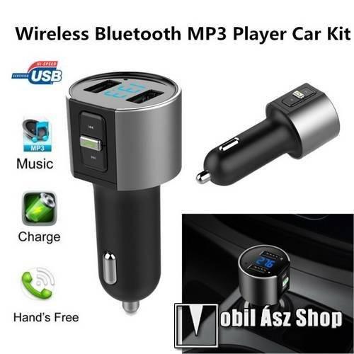 BLUETOOTH kihangosító szett - szivartöltőbe tehető, FM transmitterrel csatlakozik autórádióra, EXTRA USB töltő aljzatok, 5V/3400mAh - FEKETE