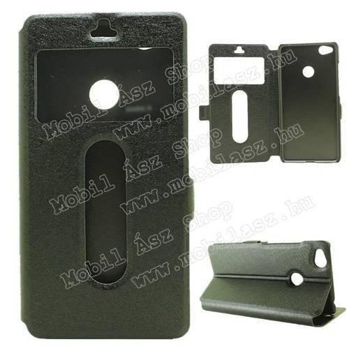 Műanyag védő tok / hátlap - FEKETE - oldalra nyíló ablakos flip cover, asztali tartó funkció, mágneses záródás, hívásfelvétel - ZTE nubia Z11 mini