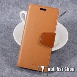 MERCURY notesz / mappa tok - VILÁGOSBARNA - oldalra nyíló flip cover, asztali tartó funkció, bankkártya tartó, szilikon belső, mágneses záródás - SAMSUNG SM-G950 Galaxy S8 - GYÁRI