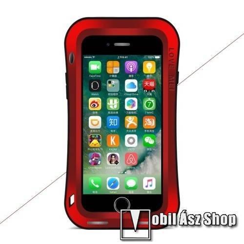 LOVE MEI Powerful defender védő tok / hátlap - ütésálló, Gorilla Glass üveg, fém keret, szilikon betétes - PIROS - APPLE iPhone 7 Plus (5.5) / APPLE iPhone 8 Plus (5.5) - GYÁRI