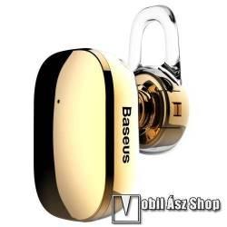 BASEUS Encok A02 bluetooth headset - v.4.1, fülbe dugható, USB töltő - ARANY - GYÁRI