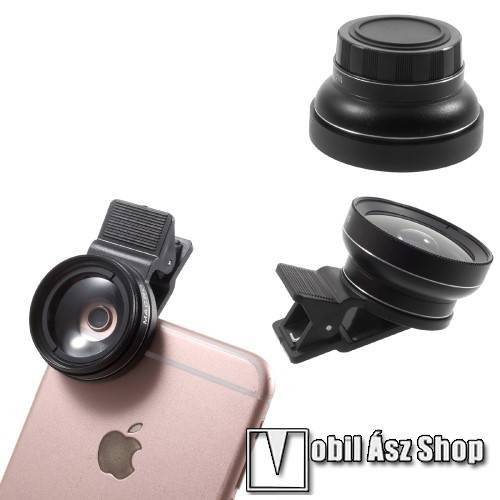 UNIVERZÁLIS csipeszes kameralencse - 2 részes, 1 makró lencse, 1 széles látószögű, 37mm 0.45X - FEKETE