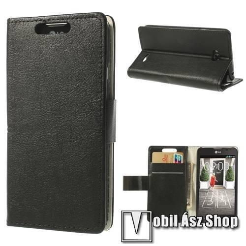 Notesz tok/ flip tok - asztali tartó funkciós, oldalra nyíló, rejtett mágneses záródás, bankkártya tartó zsebekkel - FEKETE - LG L70