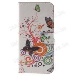 Notesz tok / flip tok - LEPKE / VIRÁG MINTÁS - oldalra nyíló, asztali tartó funkciós, rejtett mágneses záródás, bankkártya tartó zseb - Huawei Honor 6C