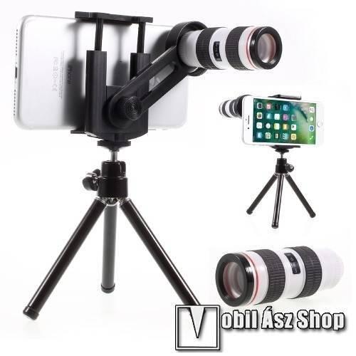 UNIVERZÁLIS kameralencse 12X optikai zoommal, mini tripod állvánnyal, teleszkóp - tartóbölcső 55-85mm - FEKETE