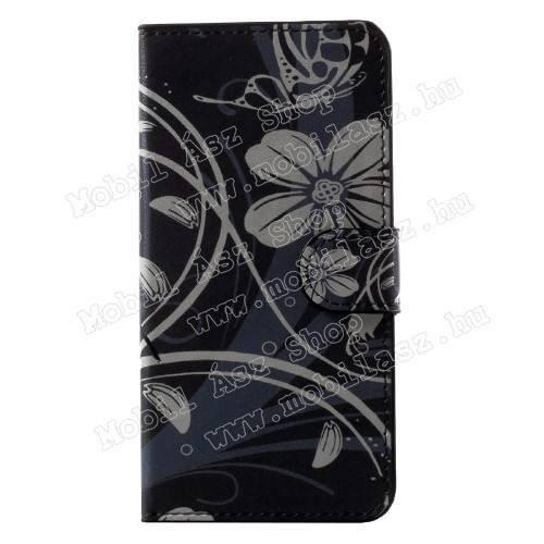 Notesz tok / flip tok - PILLANGÓ / VIRÁG MINTÁS - oldalra nyíló, asztali tartó funkciós, rejtett mágneses záródás, bankkártya tartó zseb - Huawei Honor 6C