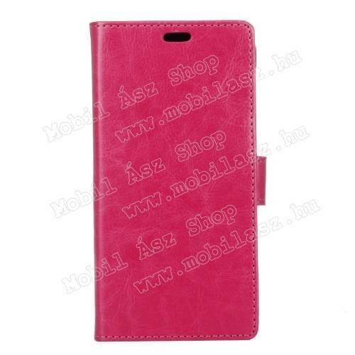 CRAZY notesz tok / flip tok - asztali tartó funkciós, oldalra nyíló, rejtett mágneses záródás, bankkártya tartó zsebekkel, szilikon belsős - RÓZSASZÍN - Vodafone Smart N8