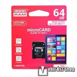 GOODRAM MEMÓRIA KÁRTYA TransFlash 64 GB - microSDHC, Class 10, UHS-i 1, írási sebesség 20 Mb/s, olvasási sebesség 100 Mb/s, + SD adapter - M1AA-0640R12 - GYÁRI