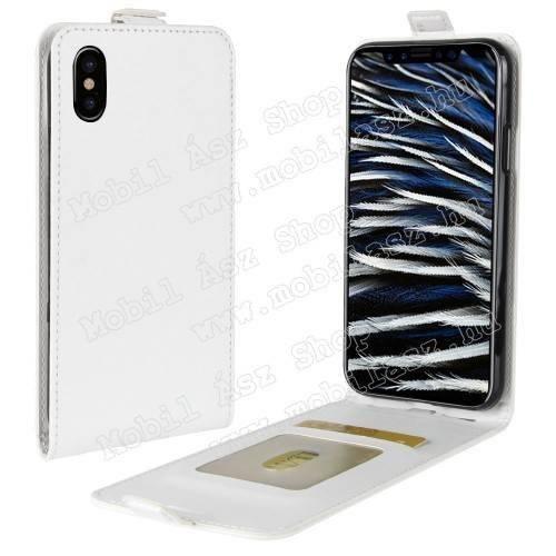 SLIM FLIP tok - FEHÉR - lefelé nyíló, rejtett mágneses záródás, bankkártya tartó zseb, szilikon belső - APPLE iPhone X / APPLE iPhone XS