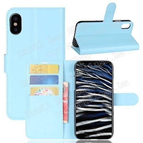 WALLET notesz tok / flip tok - VILÁGOSKÉK - asztali tartó funkciós, oldalra nyíló, rejtett mágneses záródás, bankkártyatartó zseb, szilikon belső - APPLE iPhone X / APPLE iPhone XS