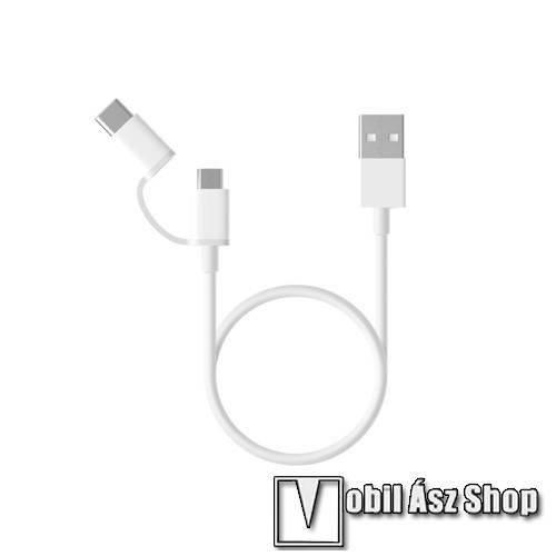 Alcatel OTE 311 Xiaomi Micro USB 2.0 adatátvieli kábel / töltő kábel - Type-C átalakítóval - 1m, 2.4A - FEHÉR - GYÁRI