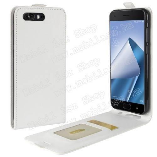 SLIM FLIP tok - lefelé nyíló, rejtett mágneses záródás, bankkártya tartó zseb, szilikon belső - FEHÉR - ASUS Zenfone 4 Pro (ZS551KL)