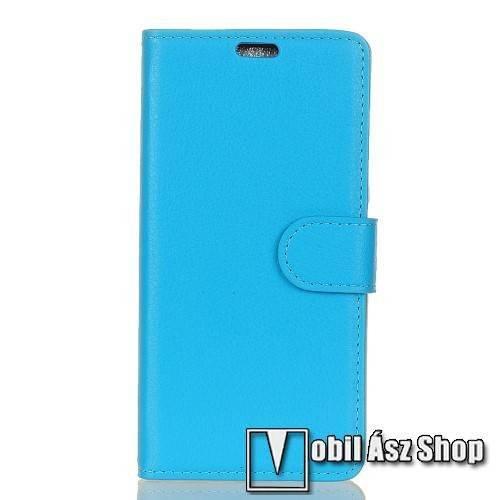 WALLET notesz tok / flip tok - VILÁGOSKÉK - asztali tartó funkciós, oldalra nyíló, rejtett mágneses záródás, bankkártyatartó zseb, szilikon belső - HTC U11 Life