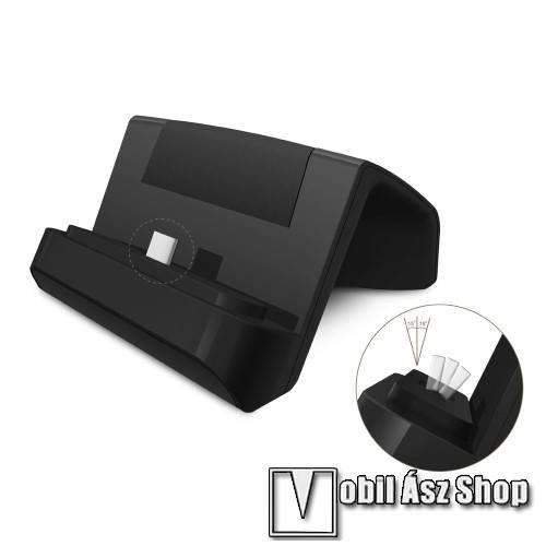Asztali töltő / dokkoló - USB 3.1 Type C, 1m USB kábellel - FEKETE