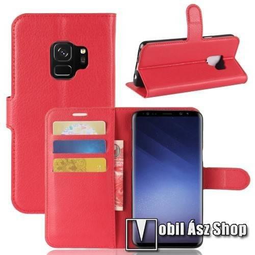 WALLET notesz tok / flip tok - PIROS - asztali tartó funkciós, oldalra nyíló, rejtett mágneses záródás, bankkártyatartó zseb, szilikon belső - SAMSUNG SM-G960 Galaxy S9