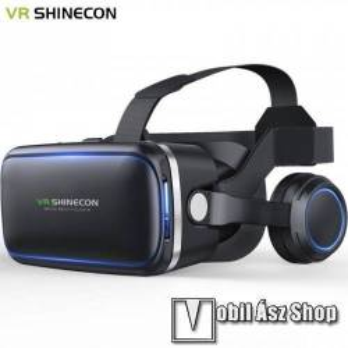 SHINECON 6.gen. videoszemüveg - VR 3D, filmnézéshez ideális,  160 x 80mm telefon befogadó keret, fejhallgató, CSAK GIROSZKÓPPAL ELLÁTOTT OKOSTELEFONOKKAL MŰKÖDIK - FEKETE