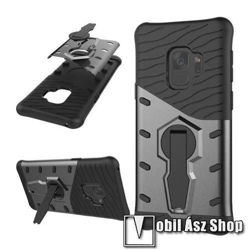 OTT! COOL ARMOR műanyag védő tok / hátlap - FEKETE / SZÜRKE - szilikon betétes, kitámasztható, ERŐS VÉDELEM! - SAMSUNG SM-G960 Galaxy S9