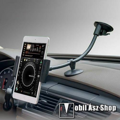 Autós / gépkocsi tartó - tapadókorongos, hosszú karral!, 360°-ban forgatható - 5-7 készülékekig használható