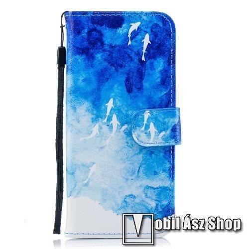 Notesz / mappa tok - HAL MINTÁS - oldalra nyíló, rejtett mágneses záródás, belső zseb, asztali tartó funkció, szilikon belső - SAMSUNG SM-G960 Galaxy S9