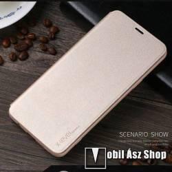 X-LEVEL Slim notesz / mappa tok - ARANY - oldalra nyíló flip cover, szilikon belső - SAMSUNG SM-G960 Galaxy S9 - GYÁRI