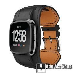 Okosóra szíj - FEKETE - valódi bőr, 23mm széles, 95+125mm hosszú, 120-190 mm-es csuklóig ajánlott - Fitbit Versa / Fitbit Versa Lite / Fitbit Versa 2