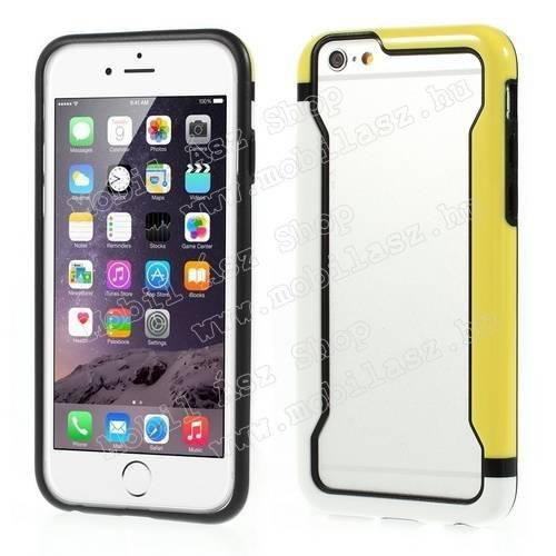 DUO szilikon védő keret - BUMPER - FEHÉR / SÁRGA - APPLE iPhone 6