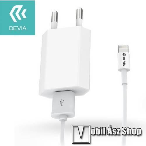 Apple iPhone 6s Plus DEVIA hálózati töltő USB aljzattal - 5V / 1A, Apple Lightning adatátvitel és töltő kábellel (120cm) - FEHÉR - GYÁRI
