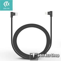 Adatátviteli kábel / USB töltő - derékszögű, USB Type C / Lightning - 2.4A töltőáram átvitelére képes - FEKETE - 1m
