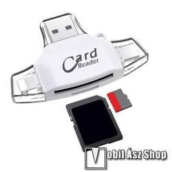 4 az 1-ben memóriakártya olvasó - Type-C, Lighting, microUSB, USB csatlakozó, OTG funkció - FEHÉR