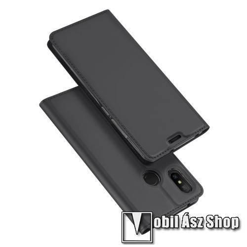 DUX DUCIS slim design notesz / mappa tok - SÖTÉT SZÜRKE - oldalra nyíló flip cover, asztali tartó funkció, szilikon belső - Xiaomi Redmi 6 Pro / Xiaomi Mi A2 Lite - GYÁRI