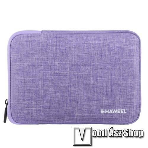 HAWEEL Tablet / Laptop UNIVERZÁLIS tok / táska - LILA - Szövet, bársony belső, 2 különálló zsebbel, ütődésálló, vízálló - ERŐS VÉDELEM! - 11-os készülékekig használható, 300 x 205 x 20mm