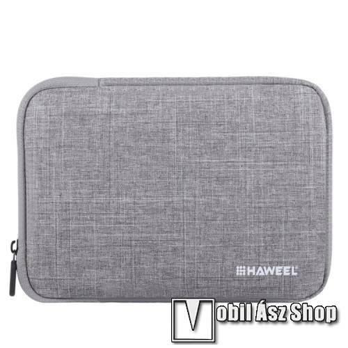 HAWEEL Tablet / Laptop UNIVERZÁLIS tok / táska - SZÜRKE - Szövet, bársony belső, 2 különálló zsebbel, ütődésálló, vízálló - ERŐS VÉDELEM! - 11-os készülékekig használható, 300 x 205 x 20mm