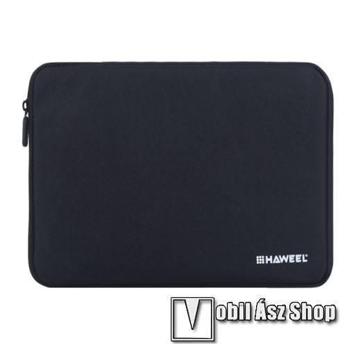HAWEEL Tablet / Laptop UNIVERZÁLIS tok / táska - FEKETE - Szövet, bársony belső, 2 különálló zsebbel, ütődésálló, vízálló - ERŐS VÉDELEM! - 11-os készülékekig használható, 300 x 205 x 20mm