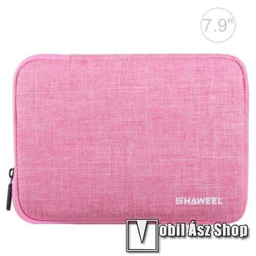 HAWEEL Tablet / Laptop UNIVERZÁLIS tok / táska - RÓZSASZÍN - Szövet, bársony belső, 2 különálló zsebbel, ütődésálló, vízálló - ERŐS VÉDELEM! - 7,9-os készülékekig használható, 210 x 145 x 20 mm