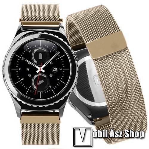 Okosóra milánói szíj - rozsdamentes acél, mágneses - PEZSGŐ ARANY - 230mm hosszú, 20mm széles - SAMSUNG Galaxy Watch 42mm / Xiaomi Amazfit GTS / SAMSUNG Gear S2 / HUAWEI Watch GT 2 42mm / Galaxy Watch Active / Active 2