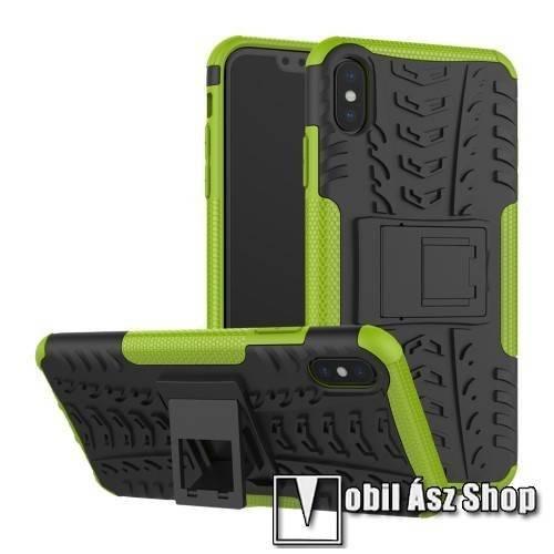 OTT! VROOM műanyag védő tok / hátlap - ZÖLD - AUTÓGUMI MINTÁS - szilikon betétes, asztali tartó funkciós, ERŐS VÉDELEM! - APPLE iPhone XS Max