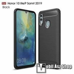 OTT! CARBON szilikon védő tok / hátlap - FEKETE - karbon mintás, ERŐS VÉDELEM! - HUAWEI P Smart (2019) / HUAWEI Honor 10 Lite