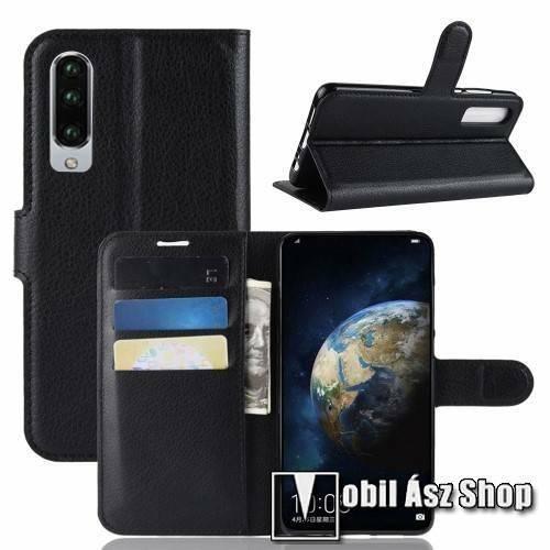 Notesz tok / flip tok - FEKETE - asztali tartó funkciós, oldalra nyíló, rejtett mágneses záródás, bankkártyatartó zseb, szilikon belső - HUAWEI P30