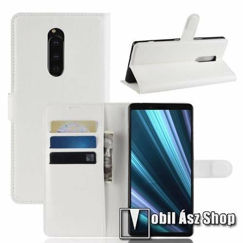 Notesz tok / flip tok - FEHÉR - asztali tartó funkciós, oldalra nyíló, rejtett mágneses záródás, bankkártyatartó zseb, szilikon belső - Sony Xperia 1