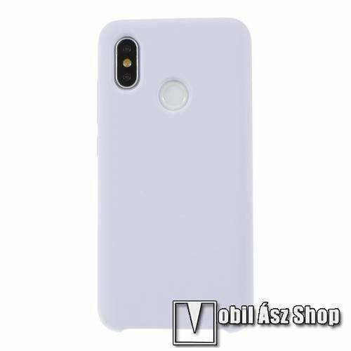 Szilikon védő tok / hátlap - mikroszálas szövettel bevont belsővel - LILA - Xiaomi Mi 8