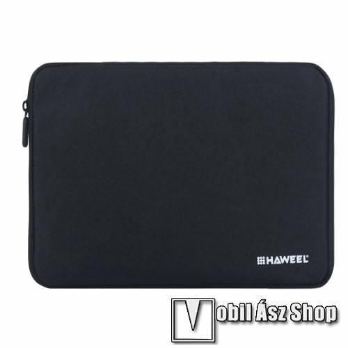 HAWEEL Tablet / Laptop UNIVERZÁLIS tok / táska - FEKETE - Szövet, bársony belső, 2 különálló zsebbel, ütődésálló, vízálló - ERŐS VÉDELEM! - 9,7-os készülékekig használható, 250 x 180 x 20 mm