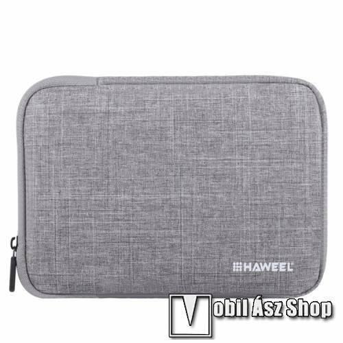 HAWEEL Tablet / Laptop UNIVERZÁLIS tok / táska - SZÜRKE - Szövet, bársony belső, 2 különálló zsebbel, ütődésálló, vízálló - ERŐS VÉDELEM! - 9,7-os készülékekig használható, 250 x 180 x 20 mm